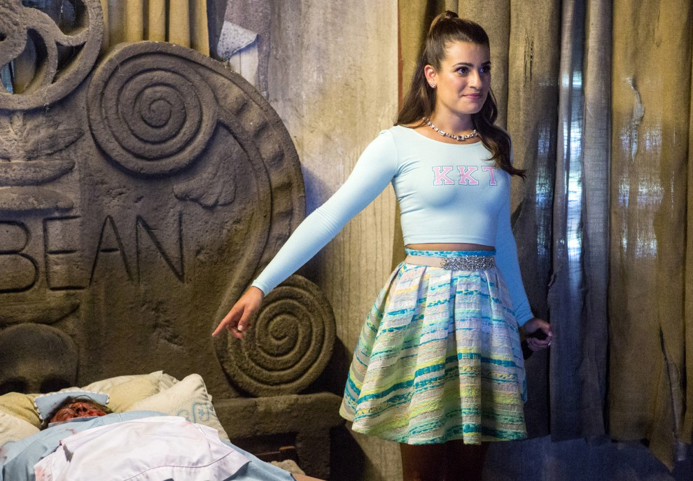 """SCREAM QUEENS: Lea Michele as Hester in the """"Haunted House"""" episode of SCREAM QUEENS airing Tuesday, Oct. 6 (9:00-10:00 PM ET/PT) on FOX. ©2015 Fox Broadcasting Co. Cr: Skip Bolen/FOX."""