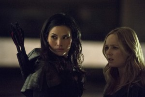 "Arrow -- ""Heir to the Demon"" -- Image AR213a_0552b -- Pictured (L-R): Katrina Law as Nyssa al Ghul and Caity Lotz as Canary -- Photo: Cate Cameron/The CW -- © 2014 The CW Network, LLC. All Rights Reserved"