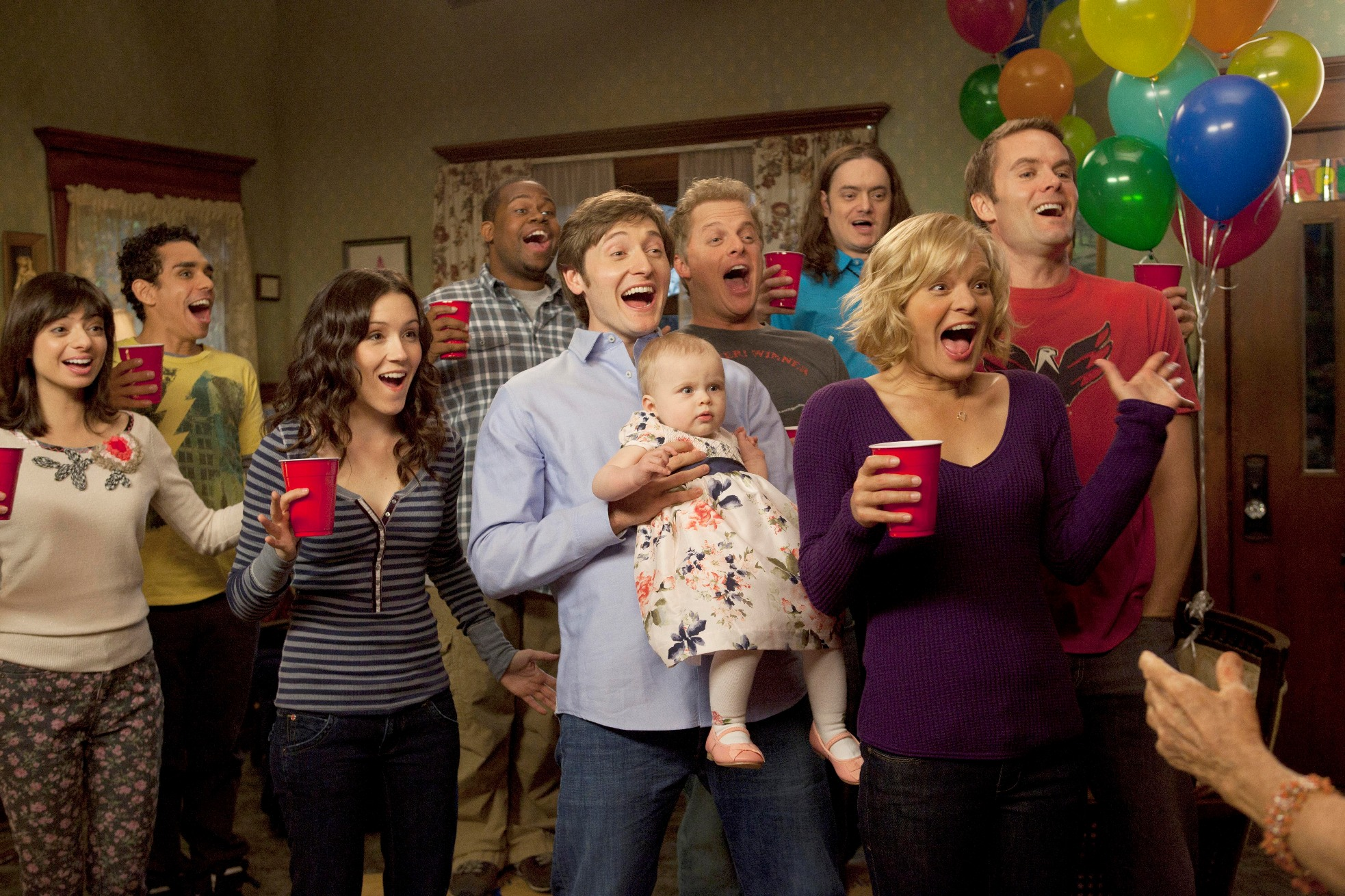 "RAISING HOPE: Everyone (L-R: guest star Kate Micucci, guest star Ray Santiago, Shannon Woodward, guest star Jermaine Williams, Lucas Neff, guest star Skylar Stone, guest star Todd Giebenhain, Martha Plimpton and Garret Dillahunt) gathers together to surprise Maw Maw for her birthday in the ""Don't Vote for this Episode"" season finale episode of RAISING HOPE airing Tuesday, May 17 (9:01-9:31 PM ET/PT) on FOX. ©2011 Fox Broadcasting Co. Cr: Isabella Vosmikova/FOX"