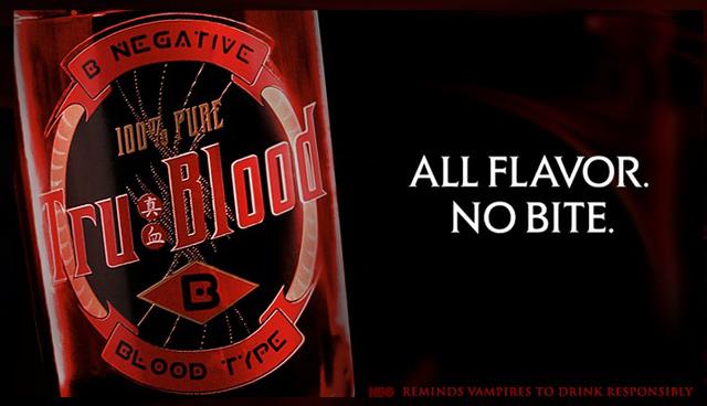 Publicidad de la sangre sintética True Blood.