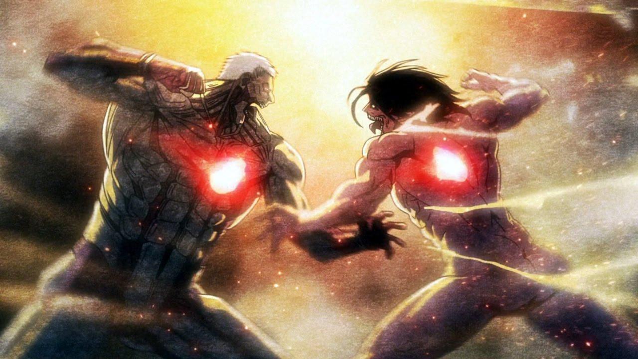 Enfrentamiento entre Eren titán y el titán acorazado