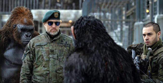 Woody Harrelson interpreta al Coronel, el desquiciado y lunático líder humano cuya cruzada consiste en acabar con los simios y frenar el virus que asola a la humanidad.