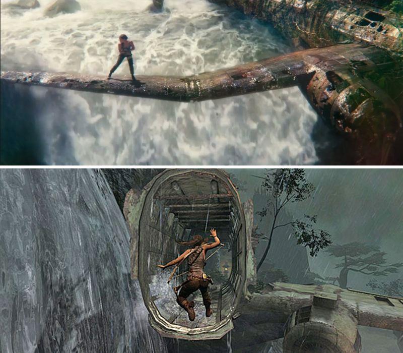 Comparativa visual entre Tomb Raider/película (arriba) y Tomb Raider/videojeugo (abajo)