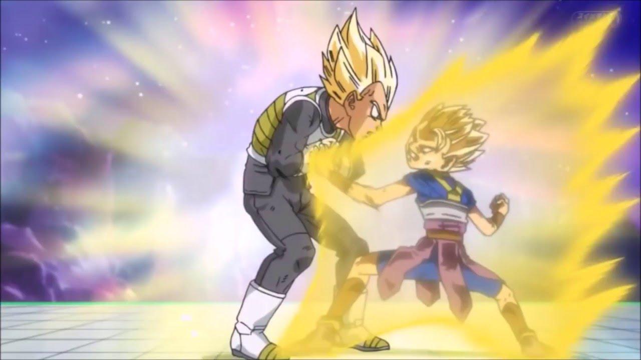 Cabba durante el torneo de universos, frente a Vegeta